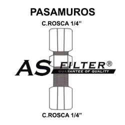 "PASAMUROS C.ROSCA 1/4"" X C.ROSCA 1/4"""