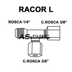 """L C.ROSCA 3/8"""" X C.ROSCA 3/8"""" X ROSCA 1/4"""""""