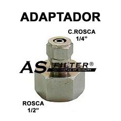 "ADAPTADOR INOXIDABLE C.ROSCA 1/4"" X ROSCA 1/2"" (HEMBRA)"